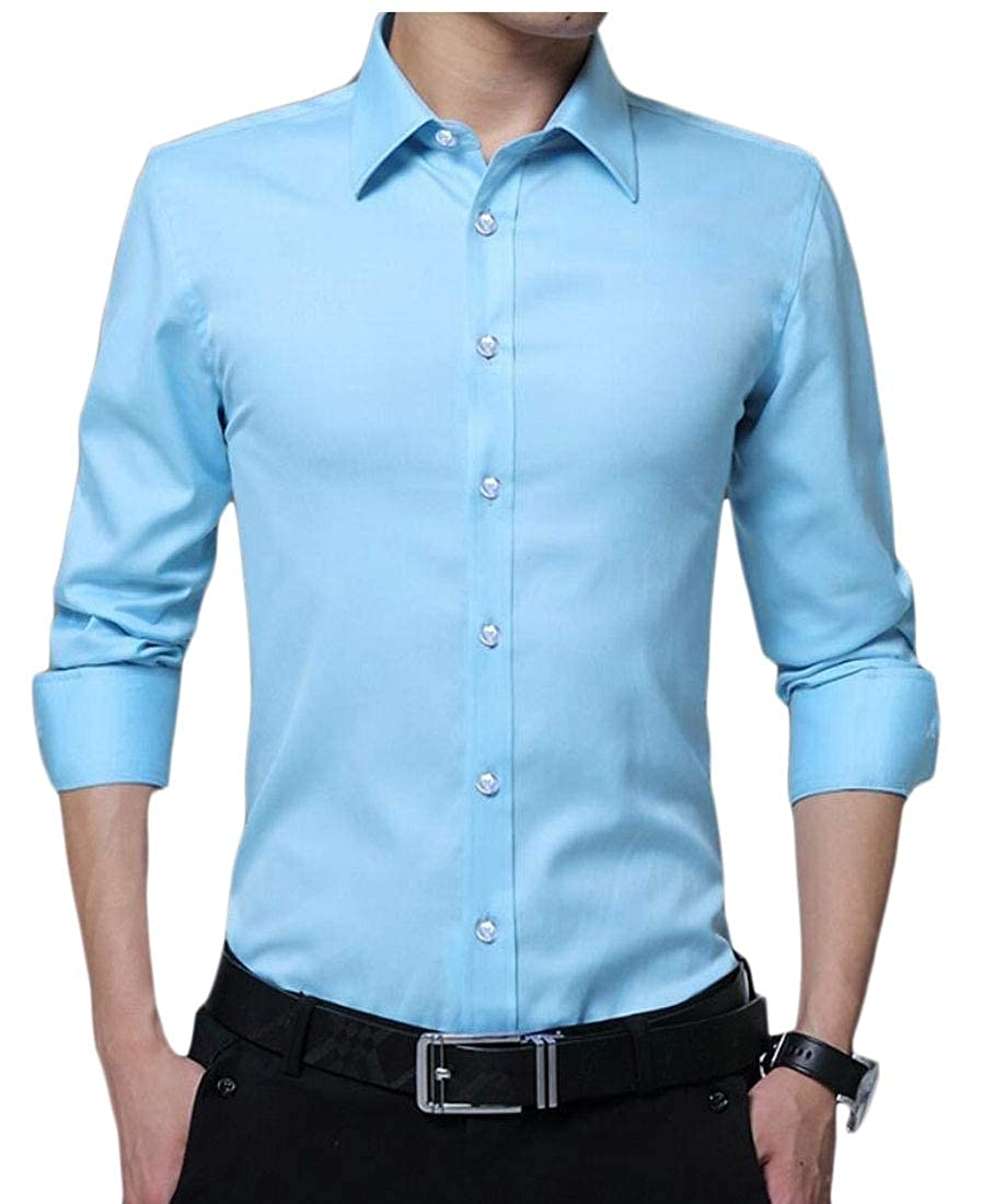 heymoney Mens Casual Slim Fit Button Down Shirts Short Sleeves Solid Dress Shirts