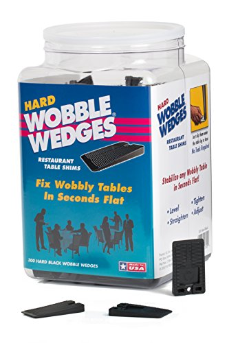 Wobble Wedges Stackable Interlocking Multi-Purpose Leveling Shims - Hard Black Plastic - 300 ea - Level Furniture, Restaurant Tables, Appliances, Plumbing Fixtures, Tables, Fountains, and more ()