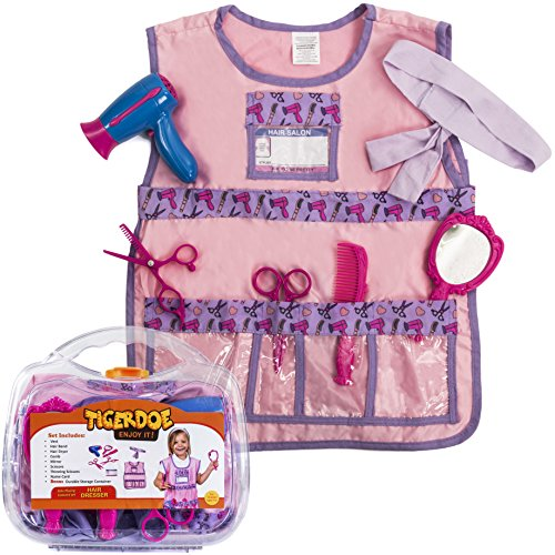 [Hairdresser Costume for Girls - Kids Hairdressing Kit - Dress Up Clothes - Pretend Play Set W/ Durable Case by Tigerdoe] (Salon Girl Costumes)