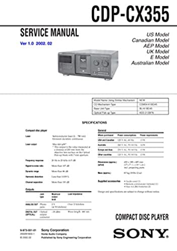cdpcx355 cdp cx355 compact disc player service manual sony amazon rh amazon com Repair Sony CDP CX355 Sony 500 Disc Changer