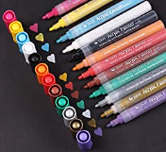 12 Colors Permanent Acrylic Paint Marker PensWorking almost on any surface including: canvas, metal, pottery, wood, plastic, stone, polymer clay, ceramic, glass, porcelain, resin, paper mache, leather,watercolor paper, rock, poster board and ...