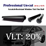 """Mkbrother Uncut Roll Window Tint Film 20% VLT 24"""" In x 15' Ft Feet (24 X 180 Inch) Car Home Office Glass"""