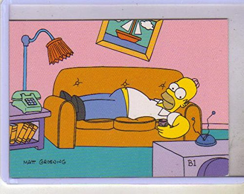 - 1993 Simpsons SkyBox Promo Cards Set B1, Homer on Couch and C1 Cel Card with Marge, Maggie, Lisa, Bart,and D'oh! in Word Balloon