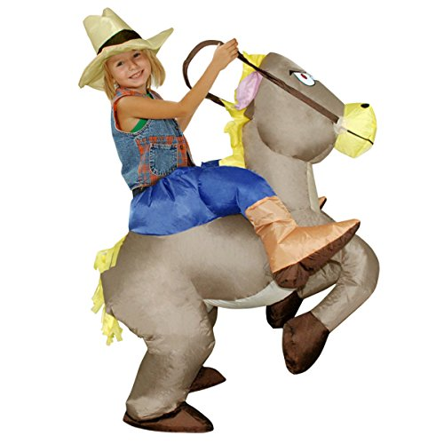 Cheap Animal Halloween Costumes (Quesera Women's Inflatable Costume Funny Animal Riding Halloween Blow Up Costume, F, free size for children)