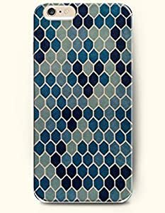 Kellie-Diy Apple iPhone 6 case cover with Design of Blue Gradient Hexagons - Honeycomb LiVe0FYVK61 Pattern -OOFIT Authentic iPhone Skin