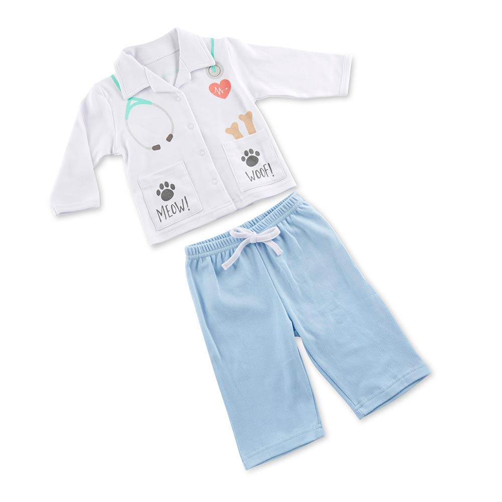 Baby Aspen''Big Dreamzzz'' Baby Veterinarian 2-Piece Layette Set, White/Blue/Teal/Grey by Baby Aspen