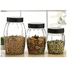 """Circleware Radiance Set of 3 Glass Canisters, 32 oz., 44 oz., 64 oz., (5.75"""",7"""", 8.5"""")"""