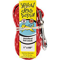 Yellow Dog Design New Red Polka Dot Dog Leash-Size Large-1 Inch Wide and 5 feet (60 inches) long