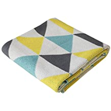 Stroller Nursery Cotton Baby Blanket, Aqua and Lemon, Sweet Peaks, 30 x 40 inches