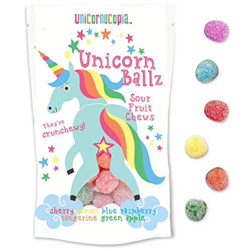 (Unicorn Ballz Sour Candy - Fruity Rainbow Balls - MADE IN THE USA - Gag Gift for)