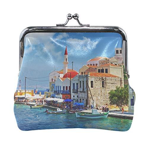 - Your Home Coin Purse Greece Dock Boat Building Print Wallet Exquisite Clasp Coin Purse Girls Women Clutch Handbag