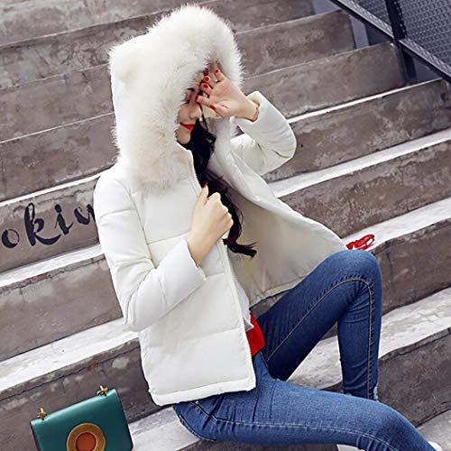 Hipster Caliente Blanco Con Plumas Chaqueta Retro Jacket Cremallera Sólido Laterales Color Mujer Bolsillos Outdoor Abrigos Manga Capucha Larga Invierno Adelina Corto RTAxn