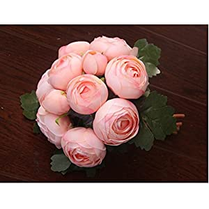 Jili Online Artificial Silk Camellia Flower Bridal Wedding Party Handtied Bouquet Real Touch Foral 45