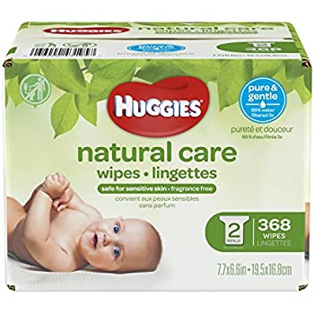 HUGGIES Natural Care Unscented Baby Wipes, Sensitive, Water-Based, 2 Refill Packs, 368 Count Total