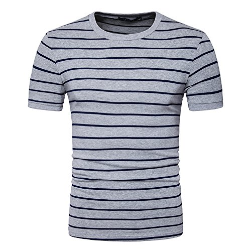 LOCALMODE Men's Slim Round Neck Vintage T Shirt with Horizontal Stripe Gray XL