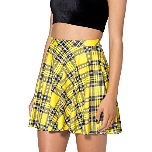 Sheoutfit Women's New Arrival Tartan Yellow Skater Skirt One Size Color16