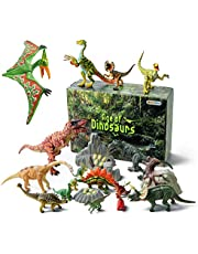 GizmoVine Dinosaur Toys,Dinosaur Figures Toy Set with Movable Jaws Leg Including T-rex, Triceratops, Velociraptor for Boys and Girls
