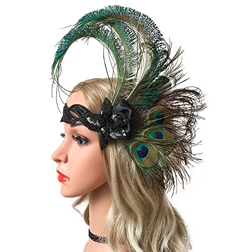 ACTLATI 1920s Flapper Headpiece Peacock Feather 20s Great Gatsby Headband -
