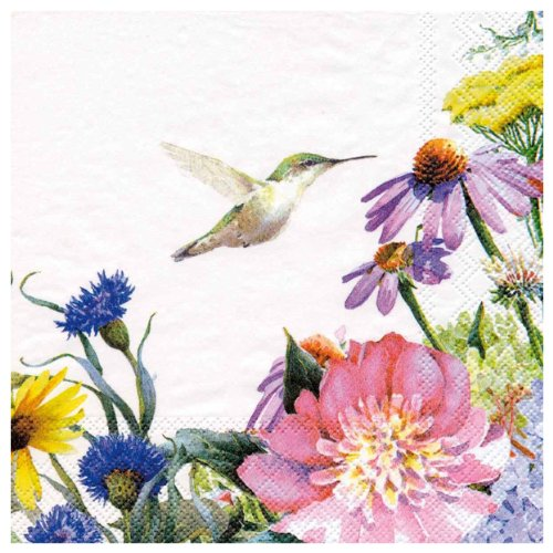 Lennox 20 Count Paper Cocktail Napkins, Floral Mead Humming Bird