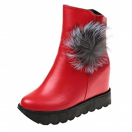 Bottes de Mode Des Femmes Des Femmes avec Fond Plat Martin Bottes Bottom Loose Shoes , rouge , 35 EUR