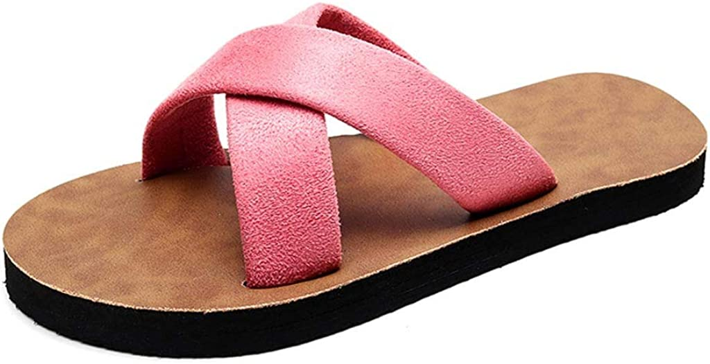 MITCOWBOYS Summer Shoes for Women Indoor Outdoor Slide Slippers Flip-Flop Beach Shoes Casual Flats Sandals