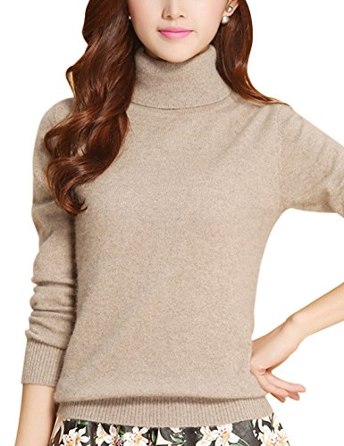 Tanming Women's Slim Fashion Turtleneck Long Sleeve Pullover Knit Sweaters (US 2, Tan)