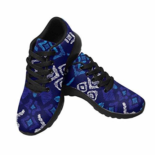 Interestprint Femmes Jogging Running Sneaker Léger Aller Facile À Pied Confort Sport Chaussures De Course Bleu Aqua Aztec Vintage Folklore Fond Modèle Multi 1
