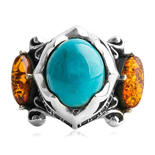 Beydodo Mens Silver Ring, Turquoise and Amber Ring Size 9.5 Silver Ring for Men Hip Hop by Beydodo