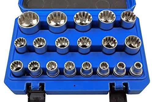 Steckschl/üssel-Satz Gearlock 19-tlg E-Profil Vielzahn 8-32 mm 1//2 Multilock