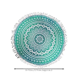 RAJRANG Round Fringe Mandala Tassel Tapestry Beach Roundie Yoga Mat Tablecloth Hippy Hippie Boho Gypsy Beach Sheet