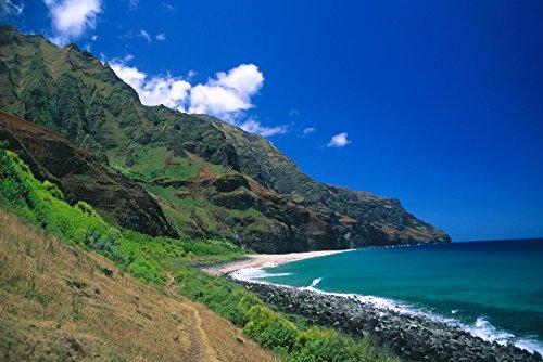 (Posterazzi Hawaii Kauai Na Pali Coast Trail Ending at Kalalau Beach Blue Skies Poster Print, (34 x 22))