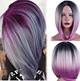 aSulis Ombre Wigs Short Bob Wigs Purple Colorful Party Wig for Women + Free Wig Cap 13'' 190g