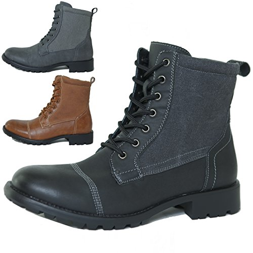 Alpine Swiss Men's Combat Boots Lug Sole Canvas Trim Field Shoes
