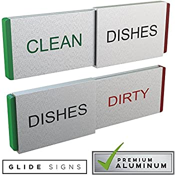 Glide Signs Dishwasher Magnet Clean Dirty Sign - Premium Metal Magnetic Dishes Indicator Improved Slider Locks - Best Kitchen Gadgets in Home Office Organization - Magnets Work on All Dishwashers