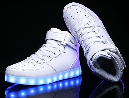 MOHEM ShinyNight High Top LED Schuhe leuchten USB Lade Flashing Sneakers Weiß