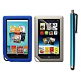 Skque Clear Screen Protector + Blue Soft Silicone Cover Case + Touch Screen Tablet/Smart Phone Stylus Pen(Blue Body) for BarnesandNoble Nook Color Ebook Reader, Office Central