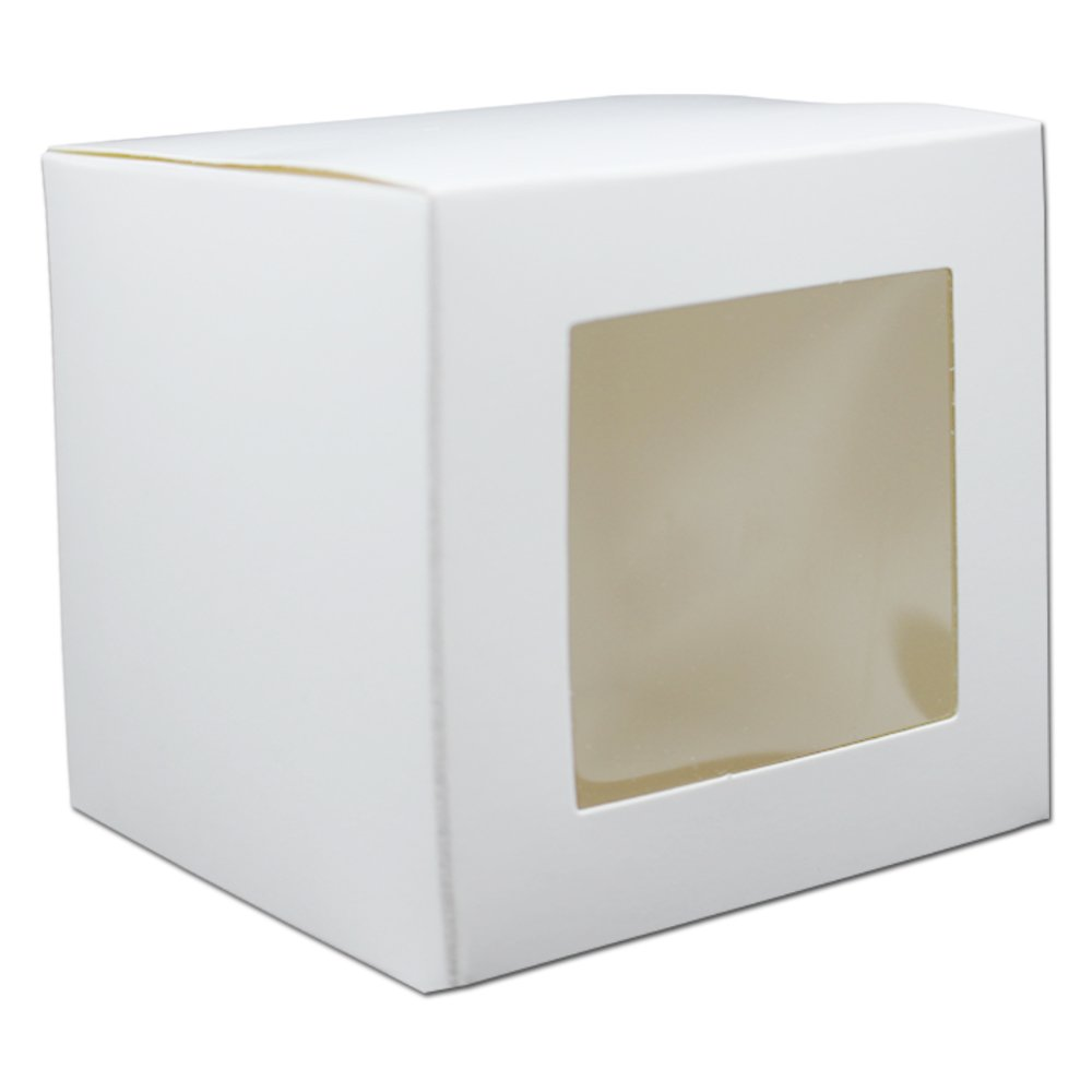 Square 16.5mil Thick Kraft Paperboard Pie Bakery Cupcake Boxes with Window Cupcake Pastry Jewelery Containers for Wedding Gift Treat Dessert Candy Cookies Bakeware Decorating (120, 3.5x3.5x3.5 inch)