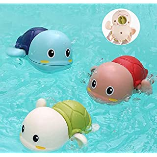 Baby Bath Toy, Wind Up Swimming Bathtub Tortoise for Boys Girls Toddlers , Floating Bathtub Pool Toys, Smooth Cute Appearance, Water Play Sets for Kids (A)