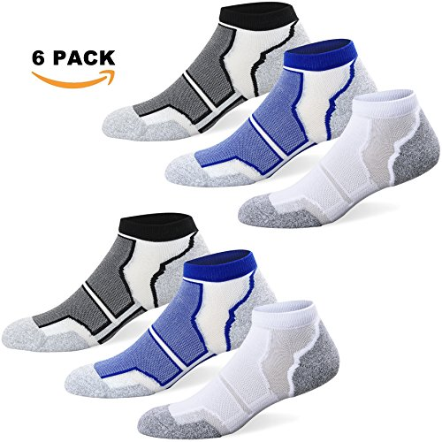Well Knitting Men's 6 Pairs Cushioned Coolmax Sports Running Ankle Socks Size (Coolmax Sport Sock)
