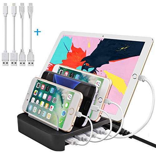 Apple Watch Stand, Cell Phone Stand Charging Dock, Ptuna USB Charging Station for iPhone, Galaxy, iPad, Smartphones, Tablets, Apple Watch(Charging Cables Included-4 USB Ports)