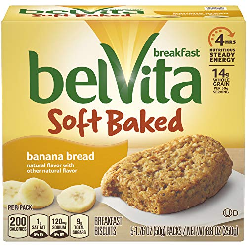 belVita Soft Baked Breakfast Biscuits, Banana Bread, 8.8 Ounce (Pack of 6) ()
