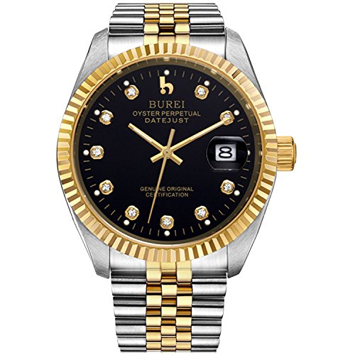 BUREI Men's Luxury Black Automatic Watch with Sapphire Crystal Rhinestone Marker Date Dial and Two-Tone Stainless Steel Band
