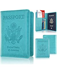 Passport Holder Cover, ACdream Travel Leather RFID Blocking Case Wallet for Passport, Sky Blue