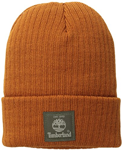 Timberland Men's Heathered Ribbed Watch Cap with Patch Logo, Burnt Orange, One Size