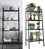 4 Tier Metal Ladder Bookshelf, Bookcase Plant Flower Stand Display Shelf Unit Storage Rack for Kitchen Living Room Bathroom Balcony Office (Ladder Shelf-4 Tier-Black)