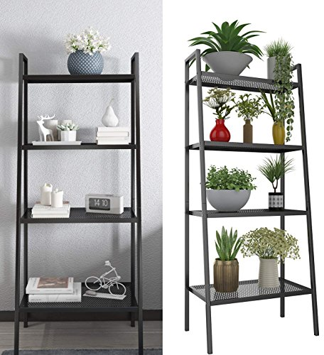4 Tier Metal Ladder Bookshelf, Bookcase Plant Flower Stand Display Shelf Unit Storage Rack for Kitchen Living Room Bathroom Balcony Office (Ladder Shelf-4 Tier-Black) ()