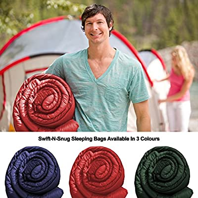 Best Cool Weather Sleeping Bag From Swift-n-Snug - Temp: 23 - 59 Degree F (-5 - 15 Deg Celsius) Travel, Camping, Hiking - For Adults, Kids, Teens, Mummy & Dad - Lifetime Guarantee