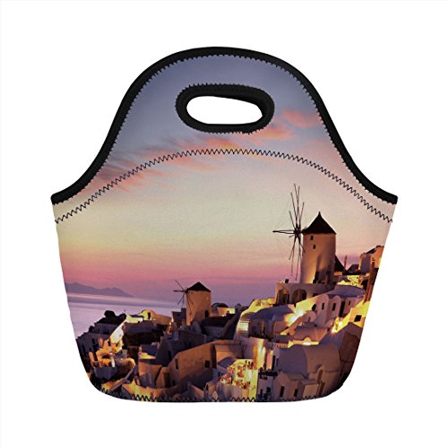 (Neoprene Lunch Bag,Windmill Decor,Famous Santorini Island in Greece Houses Evening View Architecture Village,Multicolor,for Kids Adult Thermal Insulated Tote Bags )