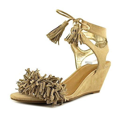 Material Girl Frauen Haniya Offener Zeh Leger Leder Sandalen mit Keilabsatz Natural