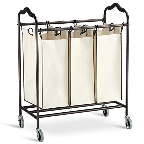 Rolling Laundry Hampers (LANGRIA Heavy Duty Laundry Hamper Stand Rolling Laundry Sorter Cart with 3 Durable Detachable Bags, 4 Casters and Anti-Slip Handles (Capacity 75 lbs., Powder Coated, Beige Bag))